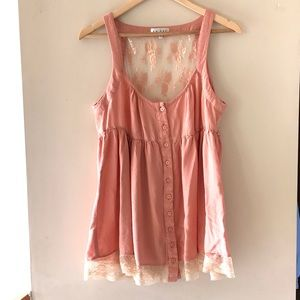 Lady Dutch pink lace-detailed tank top - Size XL